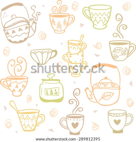 beautiful and simple doodles seamless pattern with mugs and kettles
