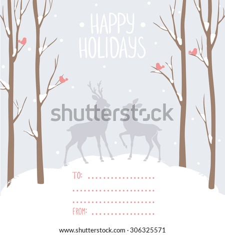 Beautiful and stylish card with tall trees and deer and with place for wishes. Vector illustration. Winter design card