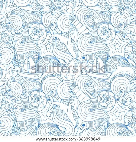 Beautiful aquatice linear seamless pattern. Creative line art with marine elements: lighthouse, whale, boat, dolphin, star fish and others.Creative concept fop web and printing.