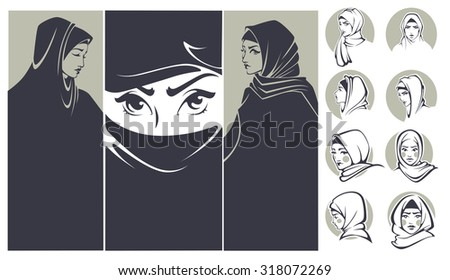 beautiful arabian girls collection, banners and portraits - stock vector
