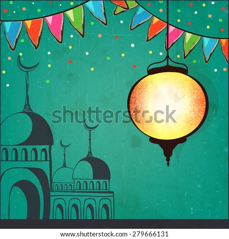 Beautiful Arabic lantern and mosque on green background, Elegant greeting card for Islamic holy month of prayer, Ramadan Kareem celebration. - stock vector