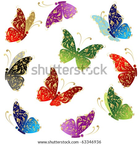 Beautiful art butterfly flying, floral golden ornament - stock vector