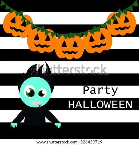 Beautiful art creative colorful halloween holiday wallpaper vector illustration of cover of zombie with blue face on black and white striped background
