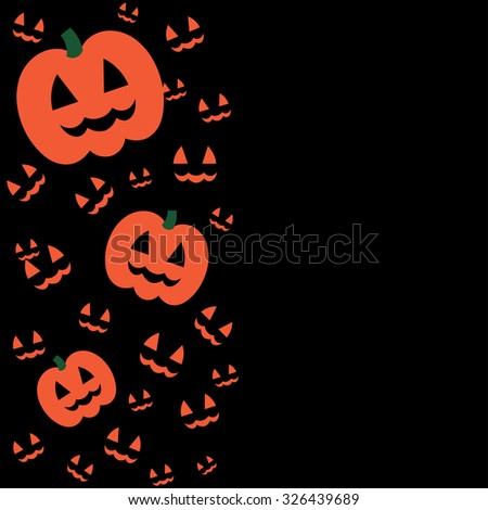 Beautiful art creative colorful halloween holiday wallpaper vector illustration of many orange pumpkins on one left half on blank black background - stock vector