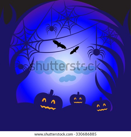 Beautiful art creative colorful halloween holiday wallpaper vector illustration of pumpkins with scary faces in forest with trees bats crosses spiders and web on blue backdrop