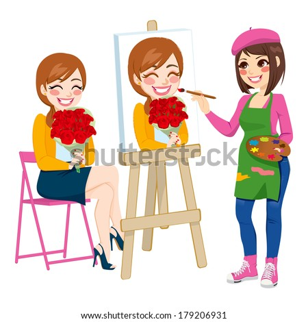 Beautiful artist woman painting portrait of happy woman holding flower bouquet on canvas - stock vector