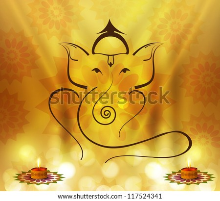 Beautiful Artistic colorful Hindu Lord Ganesha vector design - stock vector