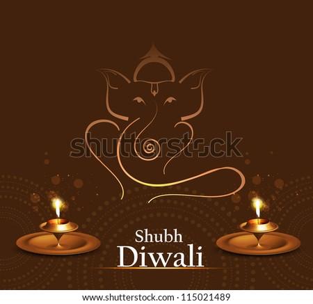 Beautiful Artistic colorful  Hindu Lord Ganesha vector illustration - stock vector
