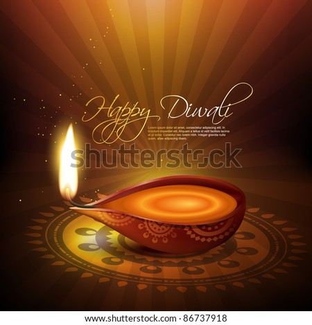 beautiful artistic diwali diya vector illustration - stock vector