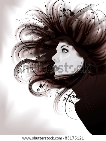 Beautiful artistic portrait illustration of woman with painted grunge hair - stock vector