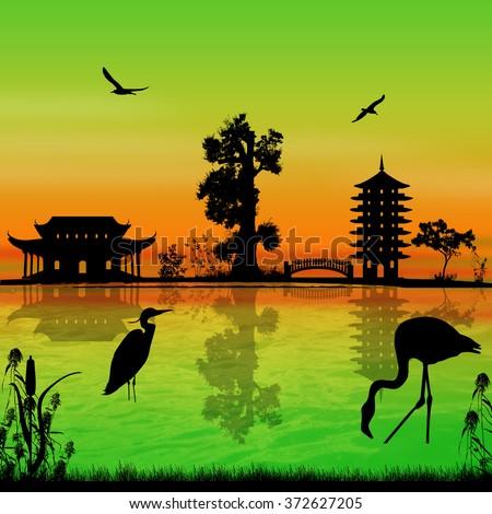 Beautiful asian landscape near water on sunset, vector illustration - stock vector