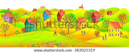 Beautiful autumn horizontal banner depicting a village with trees in autumn colors. - stock vector