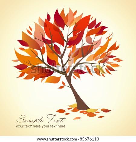 Beautiful Autumn Tree - stock vector