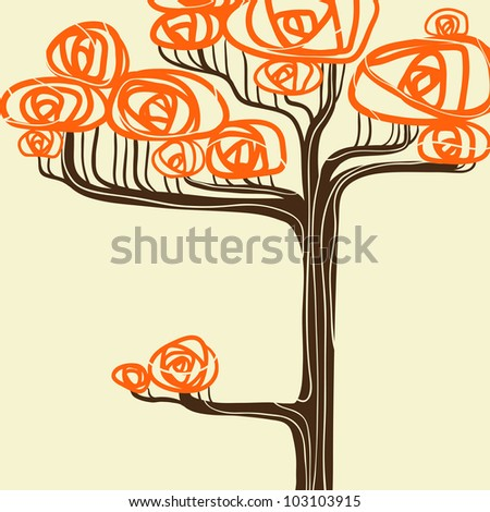 Beautiful autumn tree for your design. Vector illustration. - stock vector