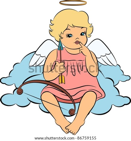 Beautiful baby angel with wings - stock vector
