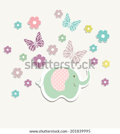 Beautiful baby vintage greeting card vector eps 10 - stock vector