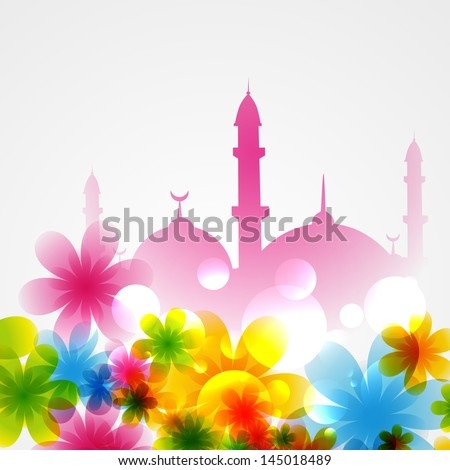 beautiful background of mosque covered with flowers - stock vector