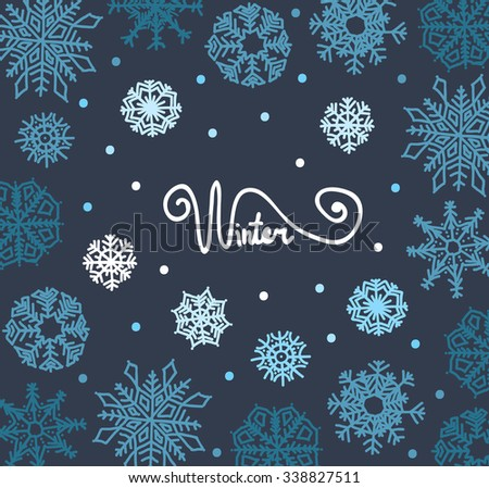 Beautiful background of snowflakes,  for winter design - stock vector