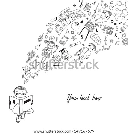 Beautiful background with a boy reading a book and receiving knowledge in the style of the cartoon. - stock vector
