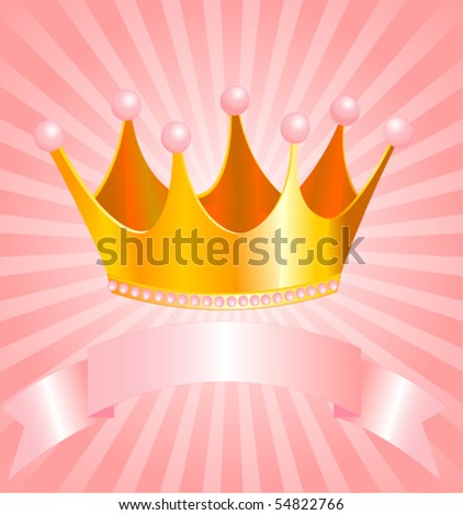 Beautiful background with crown for true princess - stock vector