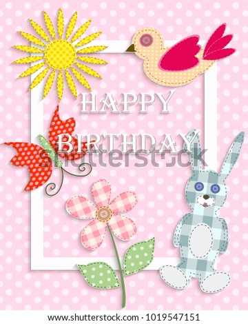 Beautiful Background With Cute Retro Elements Happy Birthday Vector Illustration