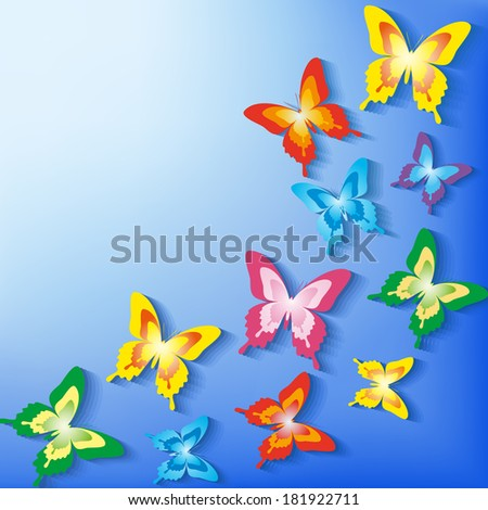 Beautiful background with 3d colorful butterflies. Spring or summer trendy card with place for text. Vector illustration. - stock vector