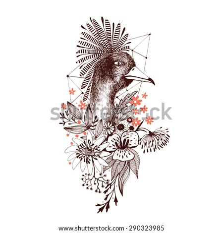 Beautiful background with exotic bird and flowers - stock vector