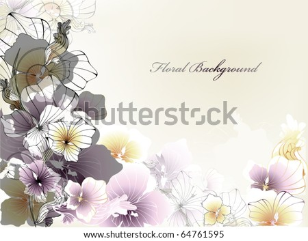 beautiful background with flowers for your card or invitation - stock vector