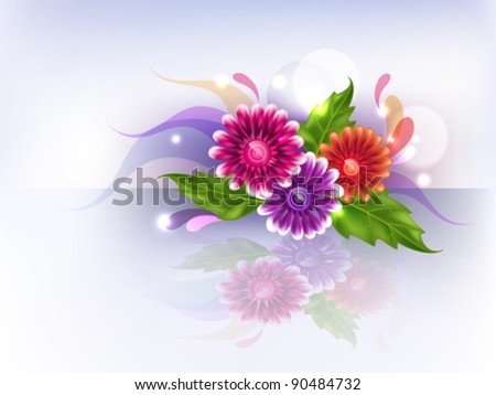 Beautiful background with multicolored gradient mesh flowers.