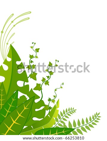 Beautiful background with tropical branches - stock vector
