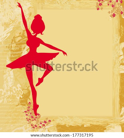 Beautiful ballerina in the background grunge  - stock vector