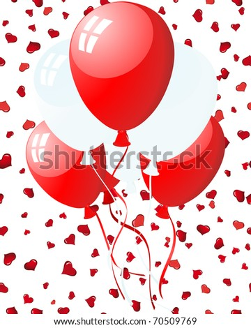 Beautiful balloons in the air on seamless hearts backgrond. Vector illustration. - stock vector