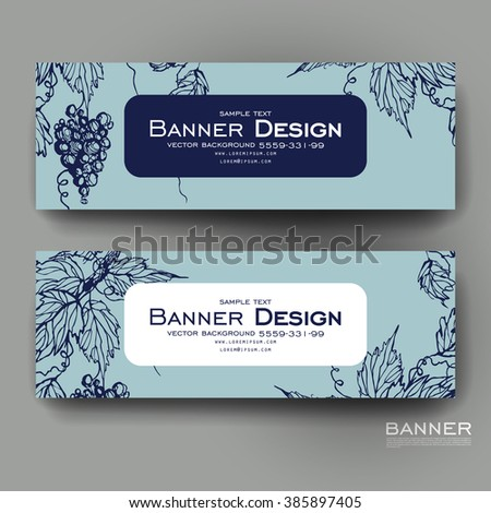 Beautiful banner vector template with grapes ornament background. Creative modern design