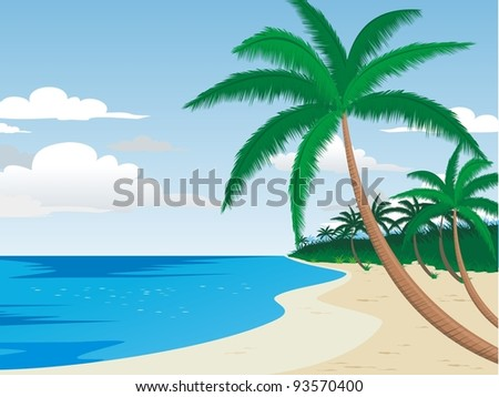 Beautiful Beach with Palm Trees in the Shore with clear water, cloud and sky