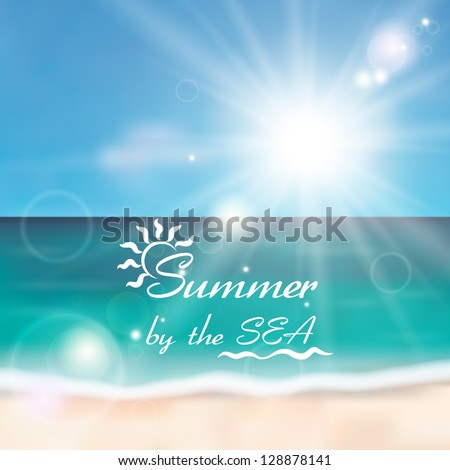 Beautiful beach with white sand, emerald sea and the sun. Summer by the sea. - stock vector