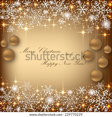 Beautiful beige background with golden balls. Vector  illustration