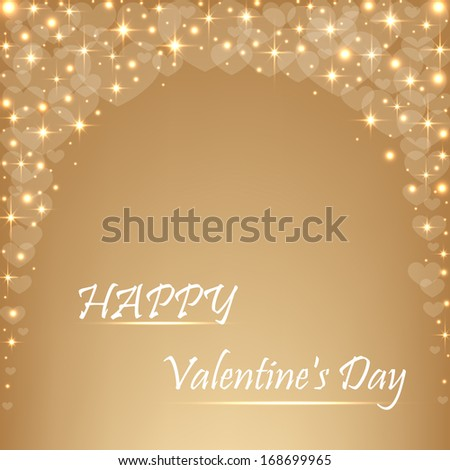 Beautiful beige background with hearts and sparkles .Valentine's  Day.Vector  illustration  - stock vector