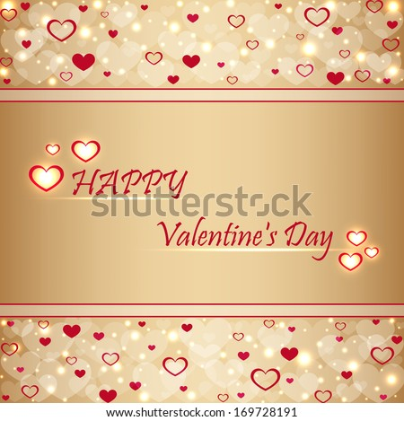 Beautiful beige background with hearts and sparkles . Valentine's  Day . Vector  illustration  - stock vector