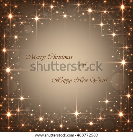 Beautiful beige background with sparkles and stars .Vector  illustration