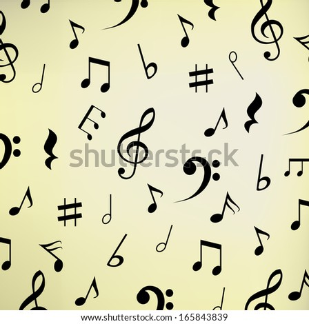 Beautiful beige music background with notes vector