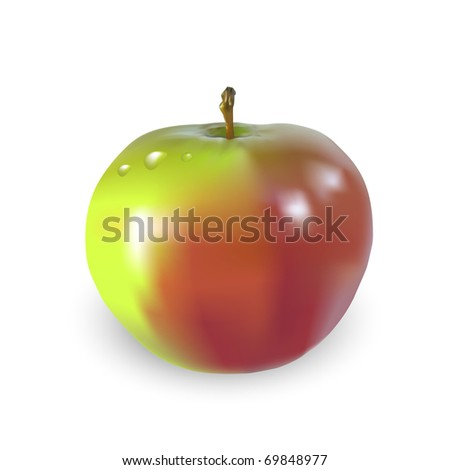 Beautiful big apple with drops of water, vector illustration