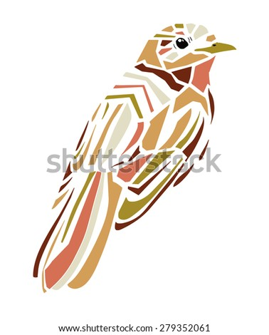 beautiful bird vector illustration, color, abstract illustration, silhouette, design. trendy print textiles isolated birds. birds flying, animals, bird silhouette, bird vector - stock vector