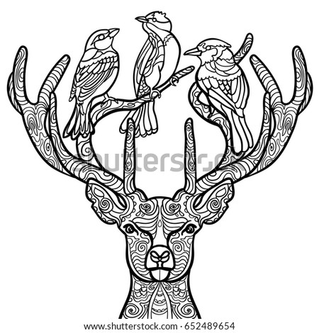 Beautiful Birds Coloring Page With Deer Book For Adult And Older Children