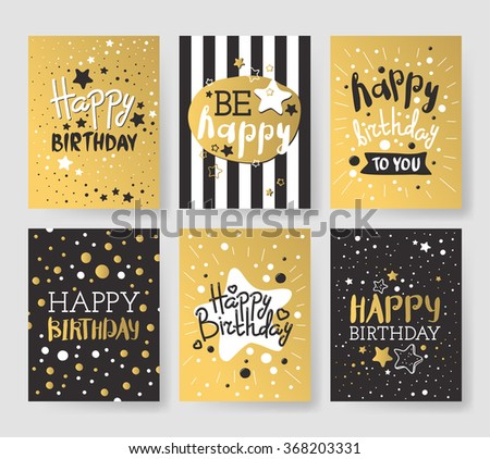 Beautiful birthday invitation cards design gold and black colors. Birthday vector greeting card decoration. Gold, black strips, lettering. Calligraphy text for Birthday party - stock vector
