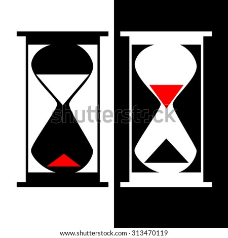 Beautiful black and white abstract hourglass silhouettes