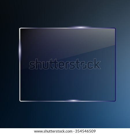 Beautiful blank shining glass banner on a dark blue background vector - stock vector
