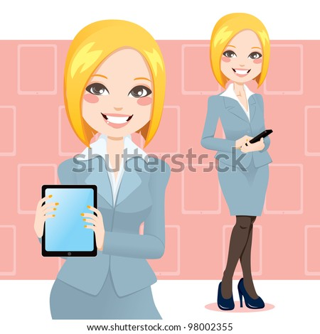 Beautiful blond business woman using a touch pad tablet portable computer - stock vector