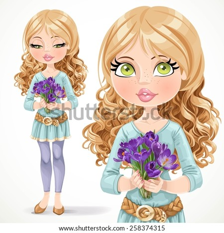 Beautiful blond girl holding a bouquet of crocuses isolated on  white background - stock vector