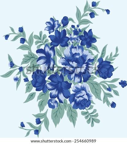 Beautiful blue flowers. - stock vector