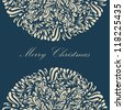 Beautiful blue lace ornament for merry christmas card vector eps 8 - stock photo